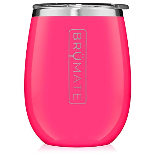 BrüMate Uncork'd XL 14oz Wine Glass Tumbler With Splash-proof Lid - Made With Vacuum Insulated Stainless Steel (Neon Pink)