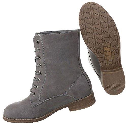 Damen Schuhe Stiefeletten Schnürer Boots Used Optik Modell Nr.1 Grau ... 9c82ab9ddc