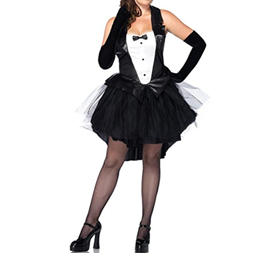 [Nanxson(TM) Women's Sexy Bunny Girl Tuxedo Dress Adult Costume EXW0018 (black)] (Bunny Dress Tux Tails Adult Costumes)