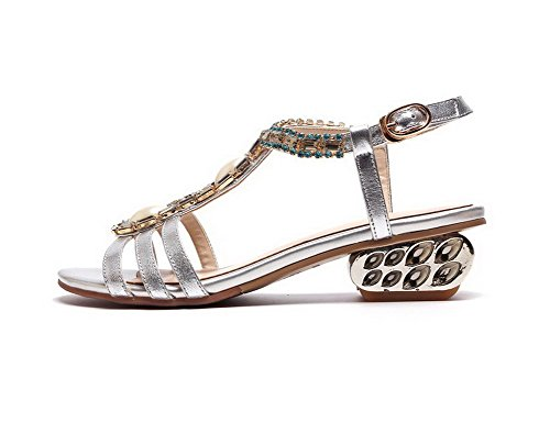 AmoonyFashion Womens Soft Material Buckle Open-Toe Low heels Solid Sandals Silver ZMrnX