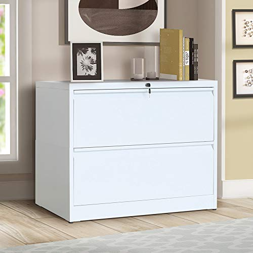(ModernLuxe Lateral File Cabinet 2-Drawer with Lock and Key (White))