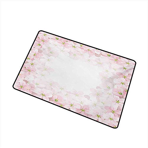 Floral Inlet Outdoor Door mat Romantic Apple Flower Petals Blooms Nature Essence Beauty Bouquet Image Catch dust Snow and mud W31.5 x L47.2 Inch,Baby Pink Lime Green ()
