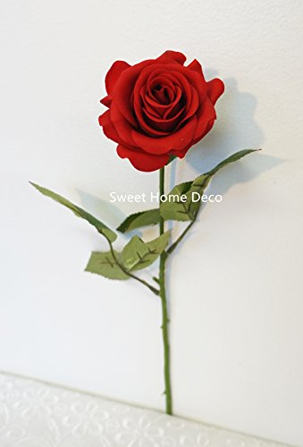 Sweet Home Deco 17'' Real Touch Rose Artificial Single Spray (Red) (Rose Spray Red)
