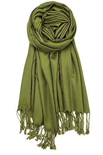 (Achillea Soft Silky Solid Pashmina Shawl Wrap Scarf for Wedding Bridesmaid Evening Dress ... (Olive Green))