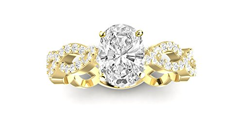 2.25 Carat t.w. 14K Yellow Gold Eternity Love Twisting Split Shank Diamond Engagement Ring a 2 Ct Forever Classic Oval Moissanite Center (Eternity Tw Diamond 2ct Band)