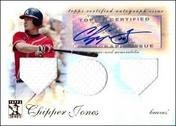 2009 Topps Tribute Triple Relics #TTAR-CJ Chipper Jones Certified Autograph Game Worn Jersey Baseball Card - Only 99 made!