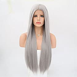 Rongduoyi Long Silky Straight Gray Hair Color Synthetic Lace Front Wigs Glueless Heat Resistant For Women Natural Looking Replacement Wig 24inch
