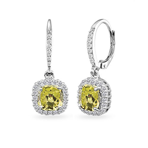 Sterling Silver Citrine Cushion-Cut Dangle Halo Leverback Earrings with White Topaz Accents Cushion Cut Gemstone Leverback Earrings