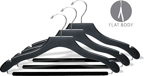 The Great American Hanger Company Wavy Black Wood Suit Hanger w/Velvet Non-Slip Bar, Box of 100 Space Saving 17 Inch Flat Wooden Hangers w/Chrome Swivel Hook & Notches for Shirt Dress or Pants by The Great American Hanger Company (Image #1)