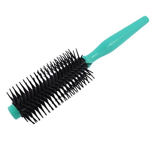 uxcell Plastic Handle Round Hair Brush Salon Styling Bristles Comb Teal - Brush Plastic Round