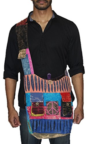 TRIBESMAN-Blue Red Hobo Cotton Sling Cross Body Messenger Shoulder Bag Hippie Boho Bohemian Light Roomy Spacious by TRIBESMANGOLD (Image #1)