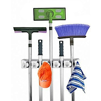 Mop and Broom Holder, 5 Position with 6 Hooks Garage Storage Holds up to 11 Tools, Storage Solutions for Broom Holders and Garage Storage Systems Broom Organizer for Garage Shelving Ideas