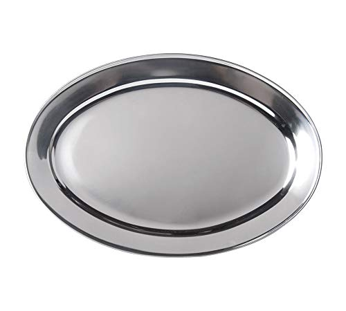 Stainless Steel Oval Platter, Large, 24 x 16-Inch Serving Platter by Tezzorio]()