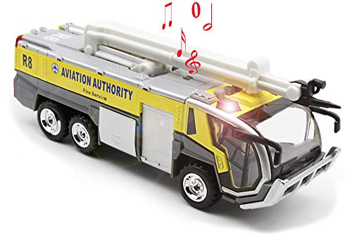 - Ailejia Airport Diecast Fire Truck Engine Pullback Friction Toy Engineering vehicle fire truck model (yellow)