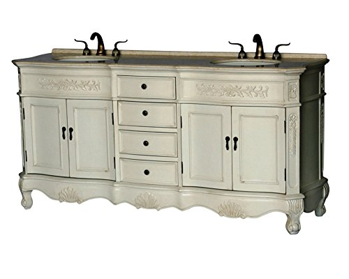 72-Inch Antique Style Double Sink Bathroom Vanity Model 2003-261 BE by Chinese Arts, Inc