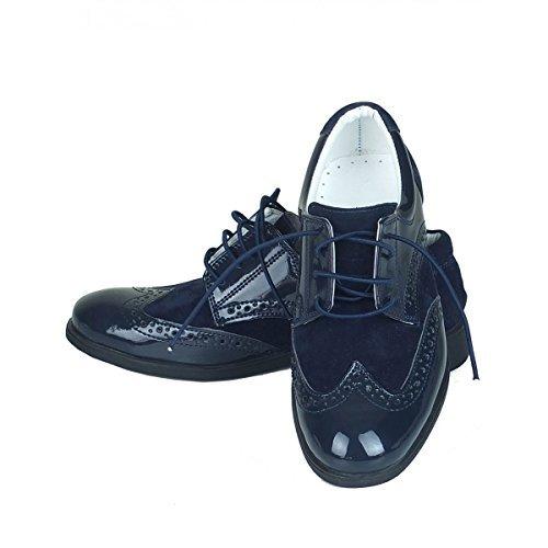 zapatillas 100% originales vista previa de Niño Nuevo Ante Azul Marino & Charol Zapatos Oxford De ...