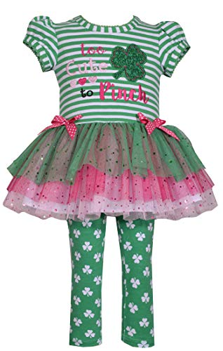 Bonnie Jean Girl's St Patrick's Day Shamrock Tutu Top and Leggings Set for Baby Toddler and Little Girls - Too Cute to Pinch