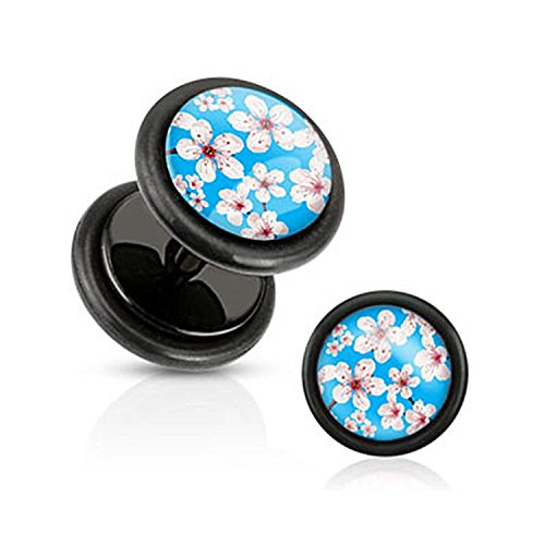 16G Blue Inlay w/ Cherry Blossoms Black Acrylic Fake Plugs with O-Rings - Sold as a Pair!