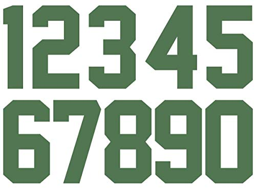 Numbers Kit(0-9),3 Inch Tall for Sports T-Shirt Jersey Football Baseball,Iron On, Heat Transfer, Team,t-Shirt(0-9) (Green)