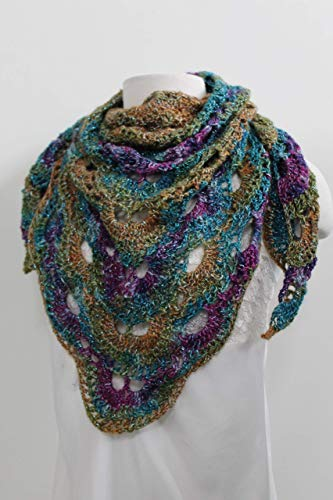 Purple Blue Green Triangle Scarf Bandana Scarf Hand Crocheted - Hand Crocheted Scarf