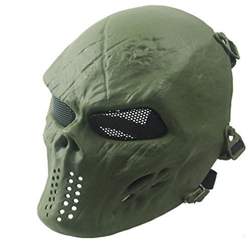[Charberry Halloween Airsoft Paintball Skull Skeleton Tactical Military CS Mask (Green)] (Horror Makeup Value Kit)