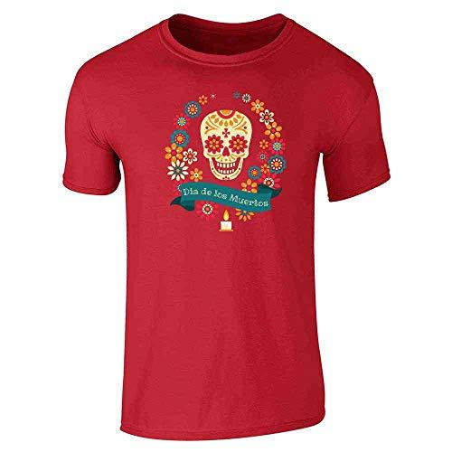 Dia de Los Muertos Sugar Skull Halloween Horror Red L Short Sleeve T-Shirt