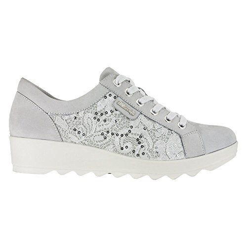 Enval Sneakers Slip On Moccasins Low Shoes Woman In Silver Leather bianco
