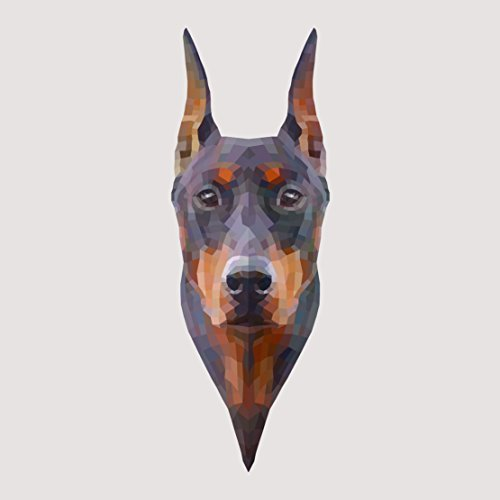 Doberman Pinscher Made of Geometric Shapes Watercolor Decal - Five Inch Tall Full Color Decal - For Indoor or Outdoor Use - Car, Truck, Laptop, MacBook