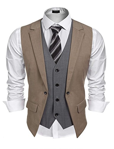 Coofandy Mens Formal Fashion Layered Vest Waistcoat Dress Vest,Brown,Large