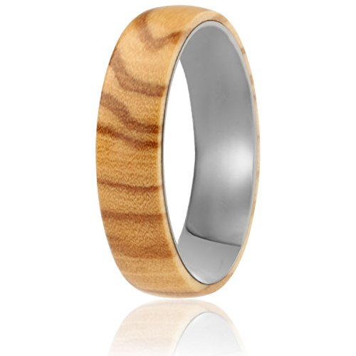 SOLEED Rings Wooden Wedding Band with Inner Tungsten Layer For Strength and Protection - Designed For Men and Women, 6mm Natural Olive Wood Ring, Comfort Fit Design, Domed Top - Size 10 by SOLEED