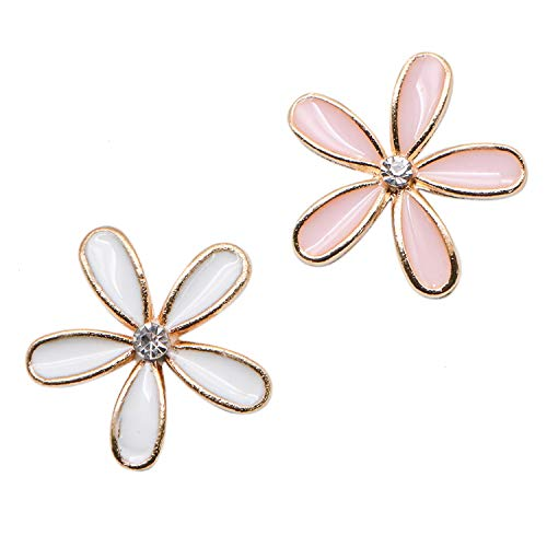 JETEHO 40 Pieces Tiny Flower Charms Enamel Charm Pendant for DIY Crafting