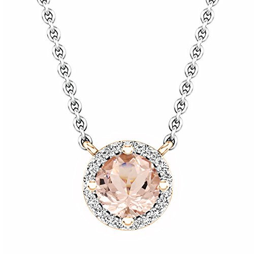 (Dazzlingrock Collection 14K Round Morganite And White Diamond Ladies Halo Pendant (Silver Chain Included), Rose Gold)