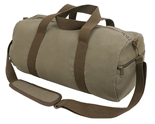 Rothco Two-Tone Canvas Shoulder Duffle Bag - Vintage Olive with Brown Straps (Vintage Bag Rothco Shoulder)