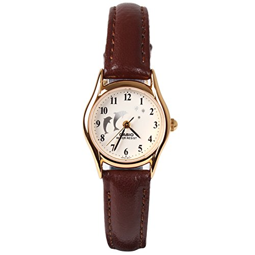 Casio Womens Brown Leather Analog Watch LTP1094Q-7B9