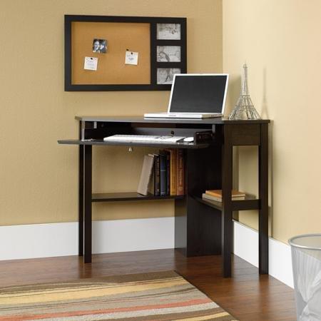 Sauder Beginnings Corner Computer Desk, Cinnamon Cherry Large Drawer / Shelf with Flip-down Panel for Keyboard / Mouse or Laptop Sauder