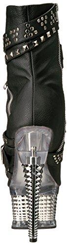 Punta Chrome Pleaserillusion 1015 Blk Zapatos slv Mujer De Abierta Leather Faux UUZvtqAw
