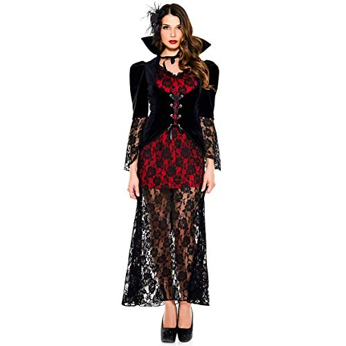 Cosplay Halloween Vampire Demon Girl Long Dress Costume with Masquerade Accessories