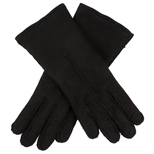 Lundorf Natalia Womens Sheepskin Gloves Lambswool Lined Black - 8.5