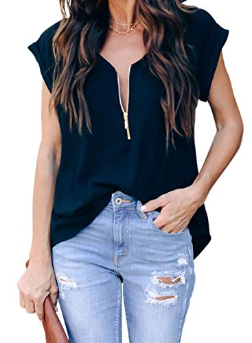 ZKESS Womens Casual Loose Half Zipper Down V Neck Short Sleeve Tops Cotton Solid Color Tunic Blouse Tshirts Black XL