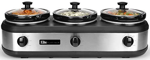 Elite Platinum EWMST-612 Triple Slow Cooker Buffet Server, Adjustable Temp Dishwasher-Safe Oval Ceramic Pots, Lid Rests, 3 x 2.5Qt Capacity, 7.5 QT, Stainless Steel (Small Slow Cooker)