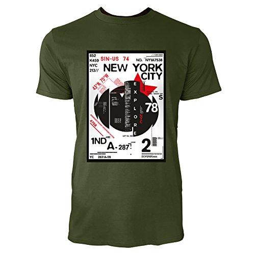 SINUS ART® New York City District Design Herren T-Shirts in Armee Grün Fun Shirt mit tollen Aufdruck