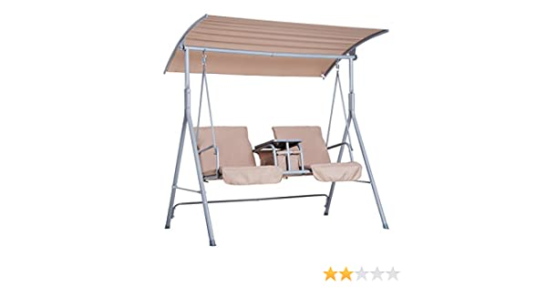 Amazon Com Outsunny 2 Person Covered Patio Swing With Pivot Table