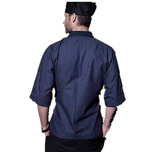 XINFU Japanese Kimono Short Sleeve Chef Kitchen South Korean Cooking Clothes Cook Clothes Korean Summer Dress Chef's Work Clothes by XINFU (Image #1)