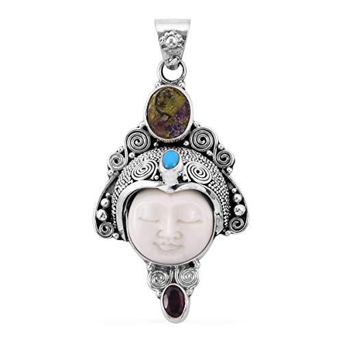 925 Sterling Silver Oval Stichitite Rhodolite Garnet Pendant ()