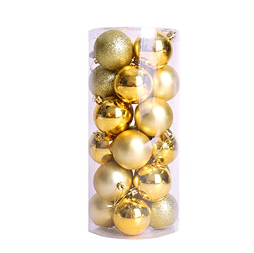 [YJ Fashion Christmas Ball Shining 24ct Plating Multicolor Colored Balls Decoration] (Homemade Reindeer Costumes For Kids)
