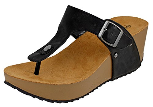 Cambridge Select Women's Slip-On Thong Platform Wedge Slide Sandal (6 B(M) US, Black)