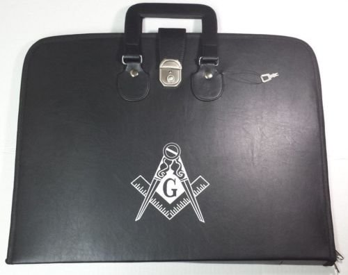 Masonic Regalia Special Feature Apron & Chain Collar Soft Handle Case Square G & Compass