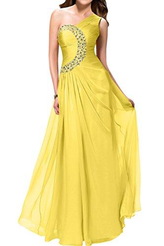 del vestito inclined Sunvary da sera shoulder Fiesta ballo elegante Giallo Rhinestones ACRA1xwaq