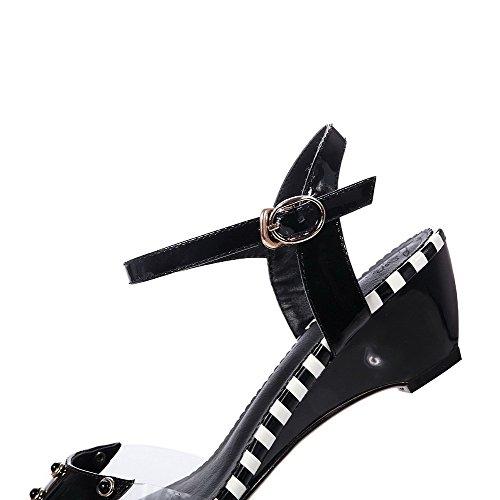 Amoonyfashion Hebilla Para Mujer Peep-toe Kitten-heels Sandalias De Cuero De Vaca Sandalias Negras