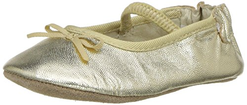 Robeez Girls' Rachel Ballet Flat Crib Shoe, Athena-Gold, 6-9 Months M US Infant
